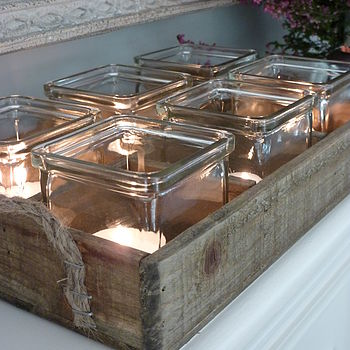 Set Of Six Tea Lights In Vintage Style Tray