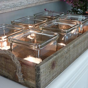 Set Of Six Tea Lights In Vintage Style Tray - bedroom