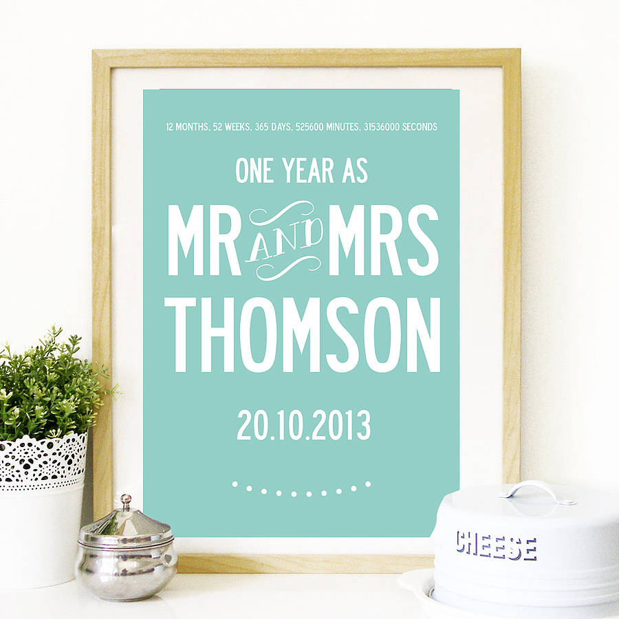 Wedding Gifts London: Personalised First Wedding Anniversary Print By I Love Art