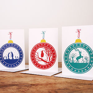 Pack Of Bauble Christmas Cards - cards & invitations