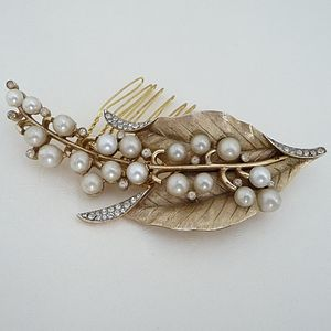 Antique Gold Floral Leaf Hair Comb