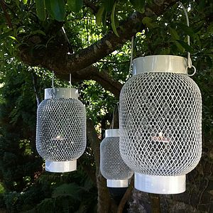 White Metal Hanging Lantern - outdoor lights