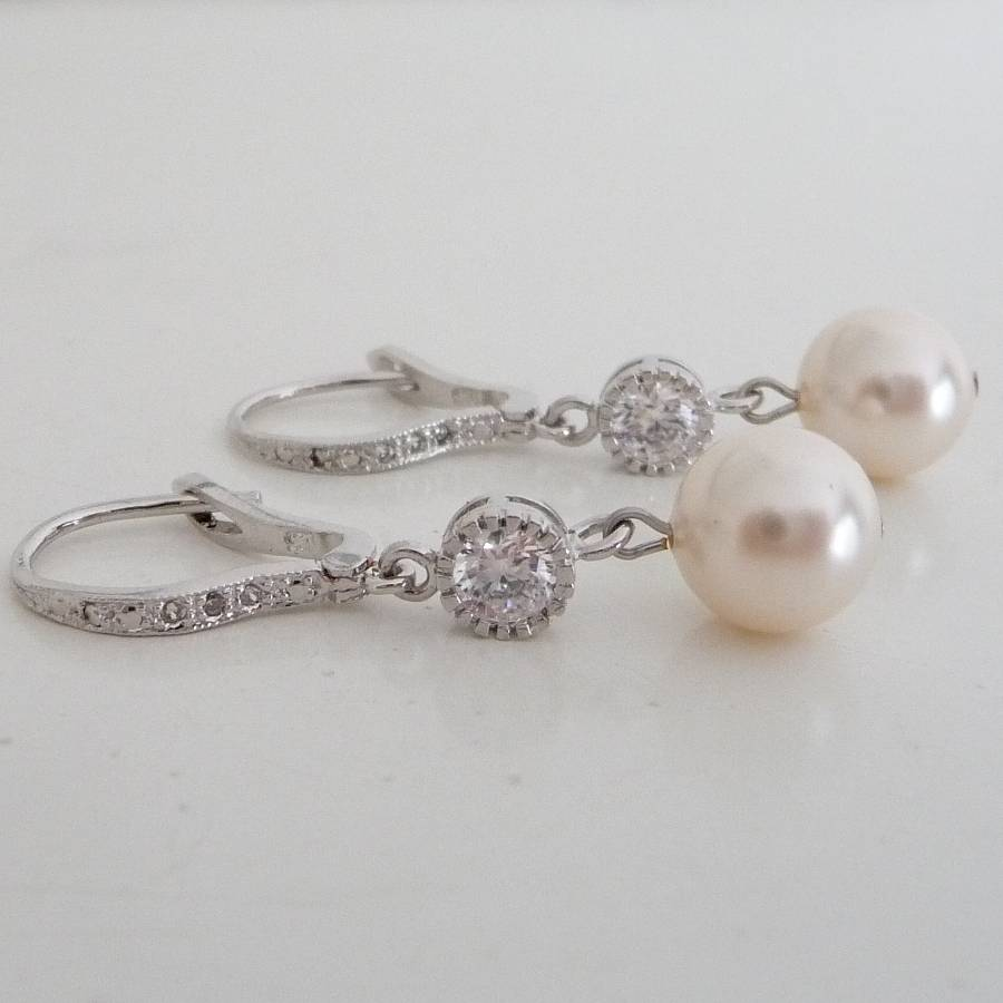 Crystal And Pearl Leverback Earrings Ivory
