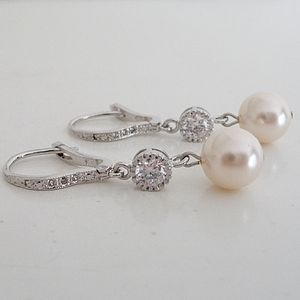 Crystal And Pearl Leverback Earrings