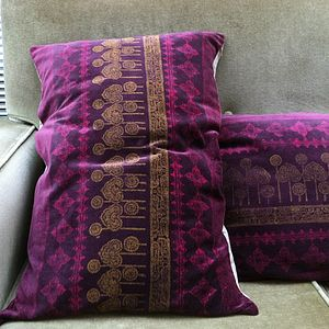 Aubergine Block Printed Velvet Cushion