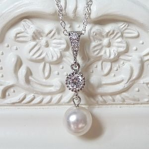 Crystal And Pearl Drop Pendant Necklace - wedding jewellery