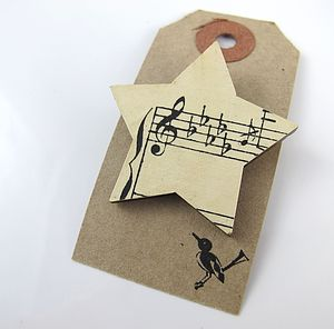 Star Shaped Vintage Sheet Music Brooch