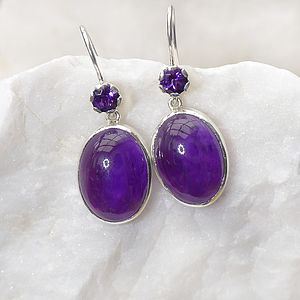 Amethyst Earrings In Sterling Silver - earrings
