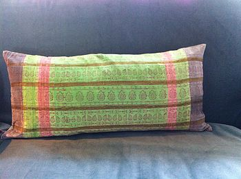 Block Printed Velvet Cushion In Mint