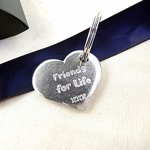 Friendship Smooth Pewter Pocket Hearts - keyrings