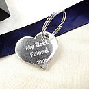 Friendship Smooth Pewter Pocket Heart Keyrings
