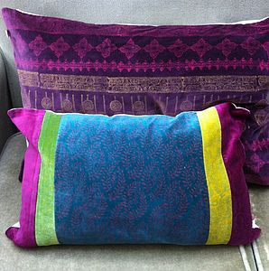 Block Printed Velvet Cushion In Teal And Pink - cushions