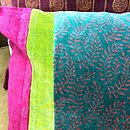 Block Printed Velvet Cushion In Teal And Pink
