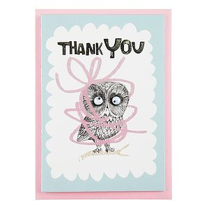 'Thank You' Card With Googly Eyed Owl