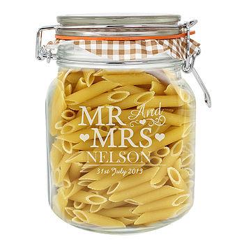 Personalised 'Mr And Mrs' Glass Kilner Jar