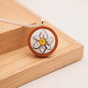 Hand Embroidered Daffodil Necklace