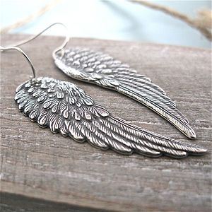 Silver Angel Wing Earrings - earrings