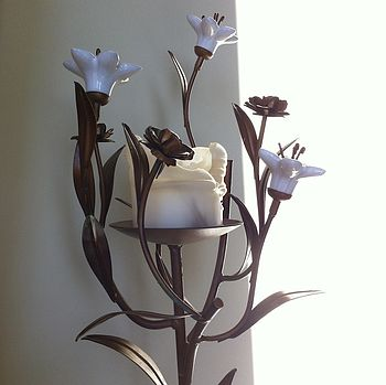 Tall Porcelain And Metal Floral Candleholder