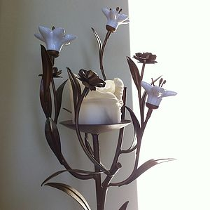 Tall Porcelain And Metal Floral Candleholder - candles & candlesticks