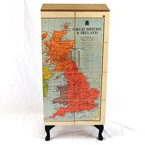 Vintage UK Map Cupboard - furniture