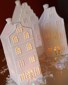 A Set Of Ceramic House Tea Light Holders - home accessories