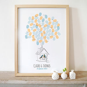 Blue Birds Fingerprints Wedding Guest Book