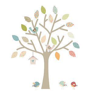 Bespoke Pastel Tree With Extra Birds - wall stickers by room