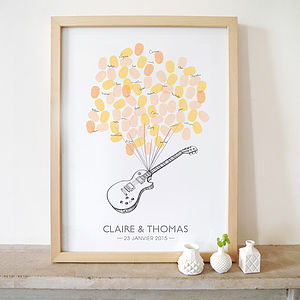Guitar Fingerprints Wedding Guest Book