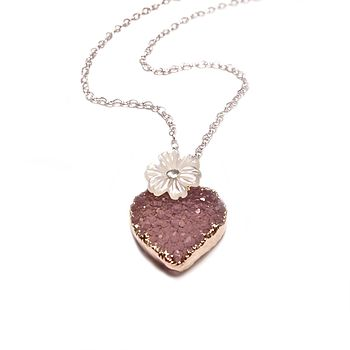 Druzy Sweet Heart And Flower Necklace