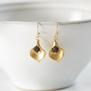 Little Gold Plated Lily Drop Earrings - earrings
