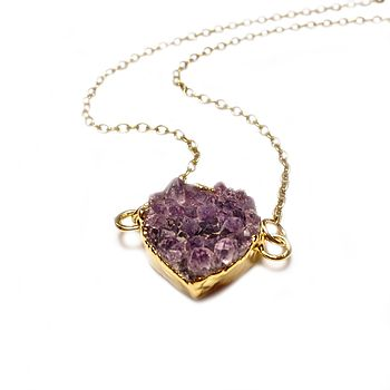 Druzy Amethyst Sweet Heart Necklace