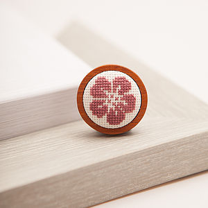 Hand Embroidered Flower Brooch - pins & brooches