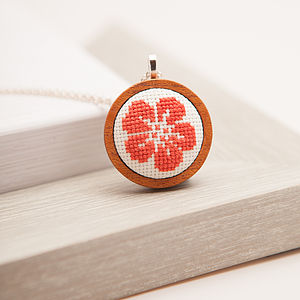 Hand Embroidered Flower Necklace - necklaces & pendants