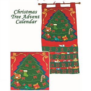 Christmas Tree Fabric Advent Calendar - garlands, bunting & hanging decorations