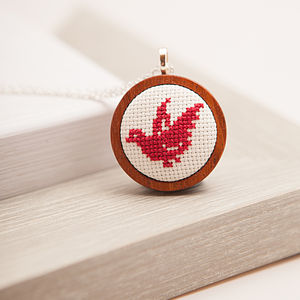 Hand Embroidered Duck Necklace - necklaces & pendants