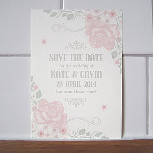 Vintage Rose Save The Date Card - invitations