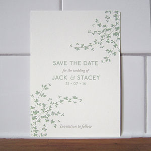 Delicate Foliage Save The Date Card - wedding stationery