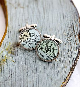 Personalised Circular Map Cufflinks - gifts for him