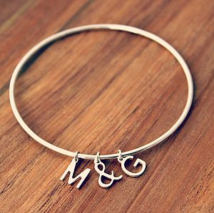 Personalised Letter Charm Bangle - jewellery