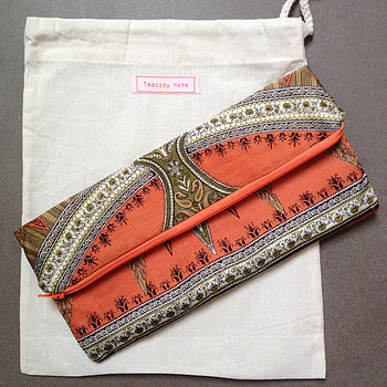 Vintage Scarf Orange Clutch Bag