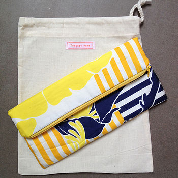 Vintage Scarf Yellow Clutch Bag
