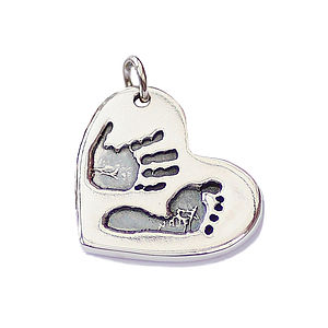 Double Handprint Footprint Silver Heart Charm - charm jewellery