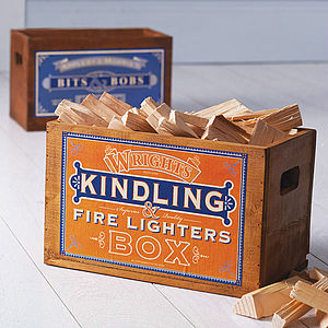 Vintage Kindling Box Or Crate - fireplace accessories
