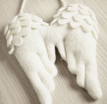 Large White Hanging Angel Wings