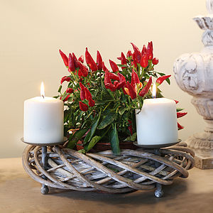 Christmas Willow Wreath Candle Holder - wreaths