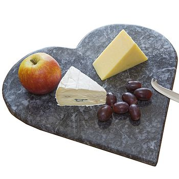 Hand Crafted Marble Heart Cheese Board Boxed