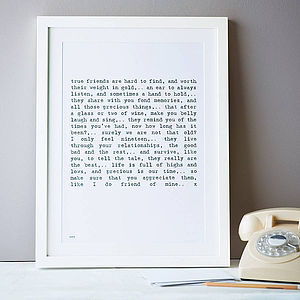 Friendship Poem Art Print Small A4 - shop by price