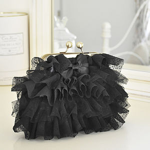 Black Ruffles Cosmetic Bag
