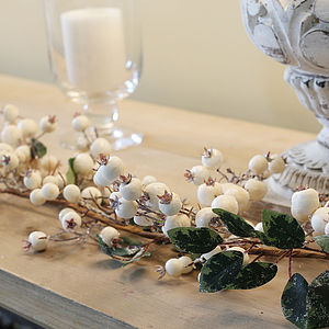 White Snowberry Christmas Garland - room decorations