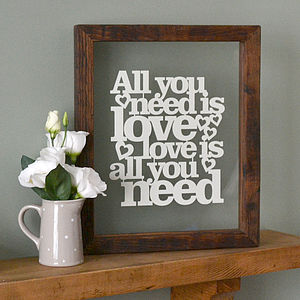 'All You Need Is Love' Papercut - contemporary art